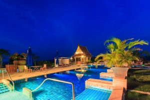 homet with swimming pool at night